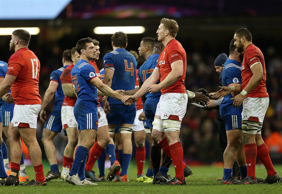 17.03.18 - Wales v France - Natwest 6 Nations Championship - Baptiste Couilloud of France shakes hands with Bradley Davies of Wales.