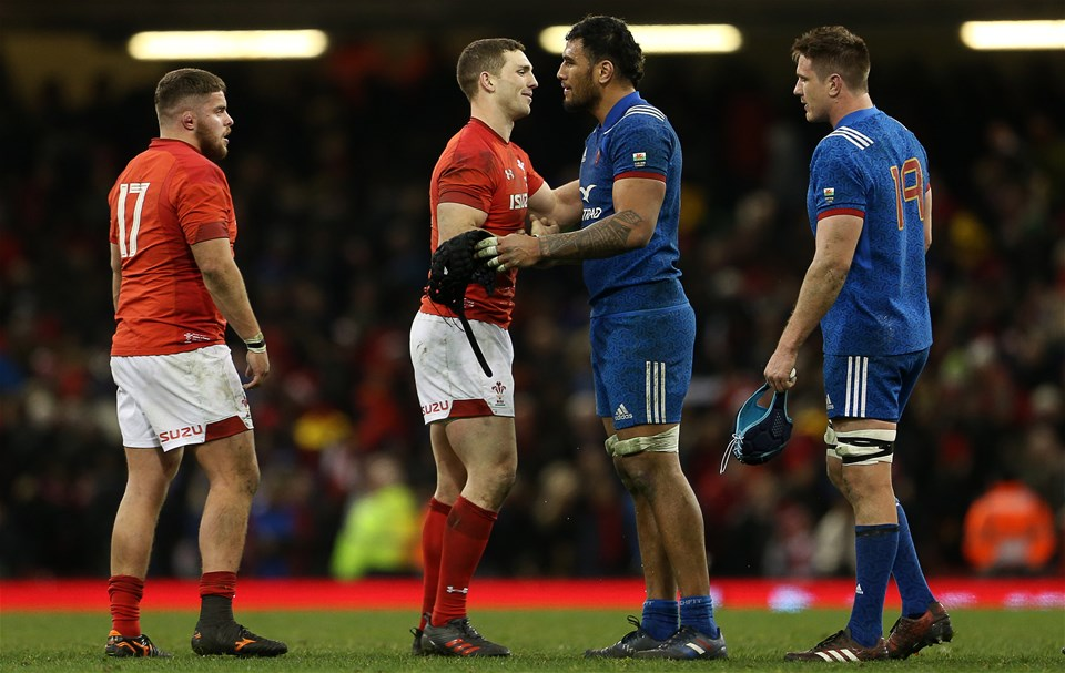 17.03.18 - Wales v France - Natwest 6 Nations Championship - George North of Wales shakes hands with Sebastien Vahaamahina of France.