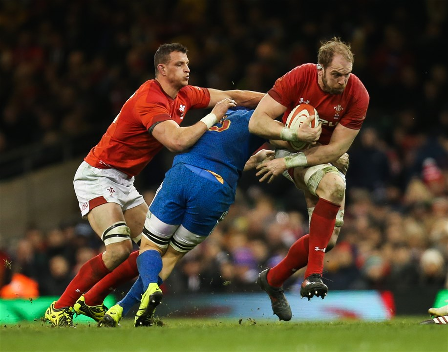 17.03.18 - Wales v France, NatWest 6 Nations 2018 - Alun Wyn Jones of Wales takes on Wenceslas Lauret of France