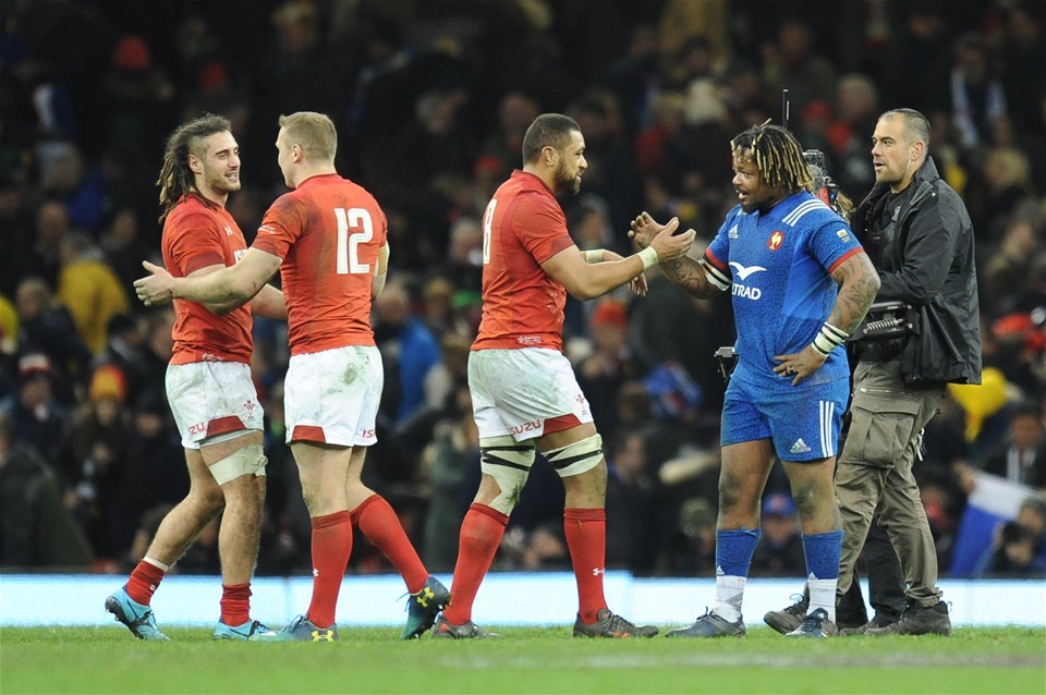 17.03.18 - Wales v France - NatWest 6 Nations Championship - Wales and France players shake hands at the final whistle