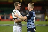 28.04.18 - Cardiff Blues v Ospreys - Guinness PRO14 -Dan Biggar of Ospreys and Gareth Anscombe of Cardiff Blues at the end of the game.