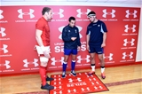 03.11.18 - Wales v Scotland - Doddle Weir Cup - Alun Wyn Jones of Wales, referee Mathieu Raynal and Stuart McInally of Scotland at the coin toss.