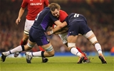 03.11.18 - Wales v Scotland, Under Armour Series 2018 - Ken Owens of Wales is tackled by Jonny Gray of Scotland  and Ryan Wilson of Scotland