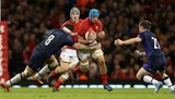 03.11.18 - Wales v Scotland - Under Armour Series - Justin Tipuric of Wales is tackled by Ryan Wilson of Scotland.