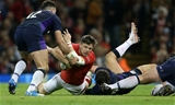 03.11.18 - Wales v Scotland - Under Armour Series - Steff Evans of Wales is tackled by Alex Dunbar of Scotland.