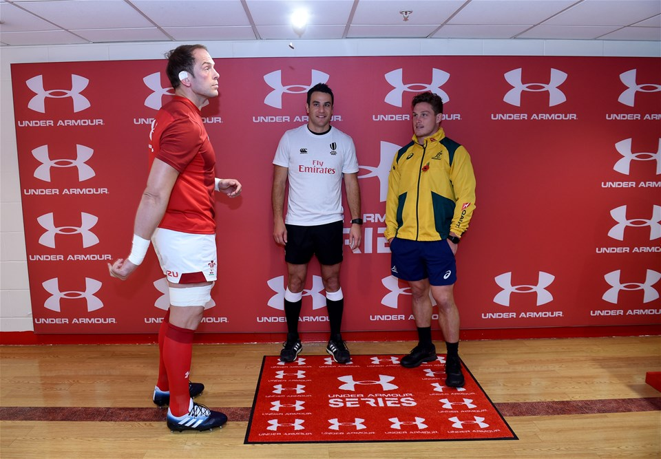 10.11.18 - Wales v Australia - Under Armour Series - Alun Wyn Jones of Wales, referee Ben OKeeffe and Michael Hooper of Australia at the coin toss