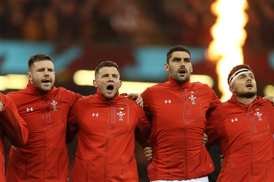 10.11.18 - Wales v Australia - Under Armour Series 2018 - Rob Evans, Elliot Dee, Cory Hill and Ellis Jenkins sing the anthem.