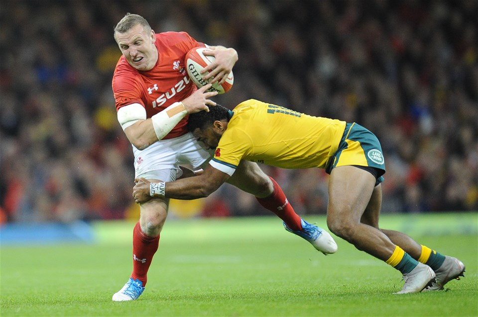 10.11.18 - Wales v Australia - Under Armour Series 2018 - Hadleigh Parkes of Wales is tackled by Sefa Naivalu of Australia
