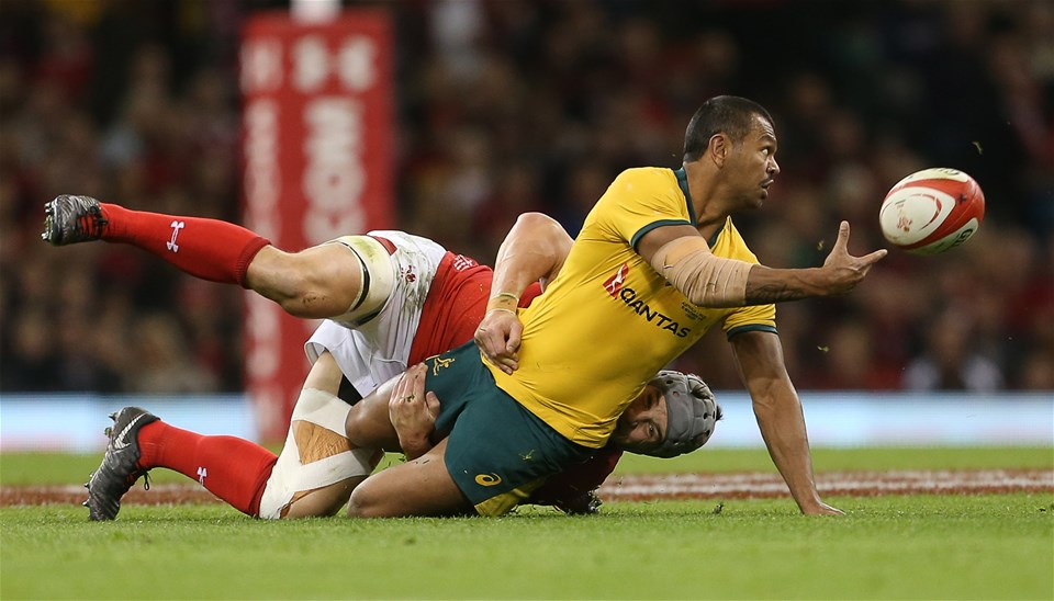 10.11.18 - Wales v Australia - Under Armour Series 2018 - Samu Kerevi of Australia is tackled by Jonathan Davies of Wales.