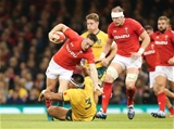 10.11.18 - Wales v Australia, Under Armour Series 2018 - Josh Adams of Wales is tackled by Allan Alaalatoa of Australia
