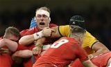 10.11.18 - Wales v Australia - Under Armour Series 2018 - A bloody Alun Wyn Jones of Wales with Adam Coleman of Australia.