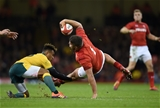10.11.18 - Wales v Australia - Under Armour Series - Nicky Smith of Wales is tackled by Will Genia of Australia.