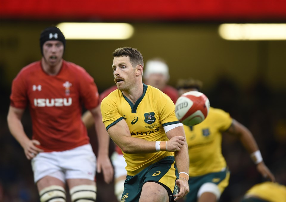 10.11.18 - Wales v Australia - Under Armour Series - Bernard Foley of Australia passes the ball away.