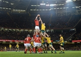 10.11.18 - Wales v Australia - Under Armour Series - Adam Beard of Wales wins line out ball.
