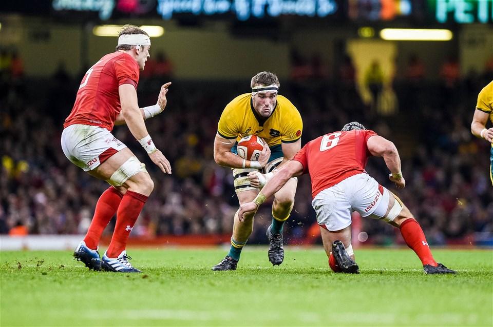 10.11.18 - Wales v Australia, Under Armour Series - Izack Rodda  of Australia makes his way through the Welsh defence