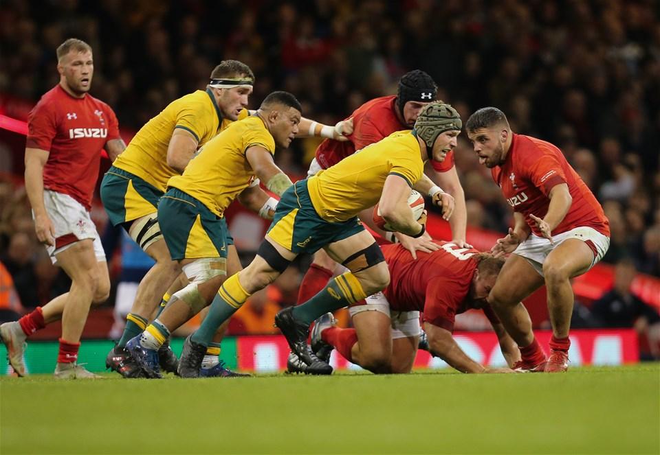 10.11.18 - Wales v Australia, Under Armour Series 2018 - David Pocock of Australia charges forward