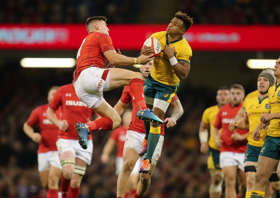 10.11.18 - Wales v Australia, Under Armour Series 2018 - Josh Adams of Wales and Will Genia of Australia compete for the ball