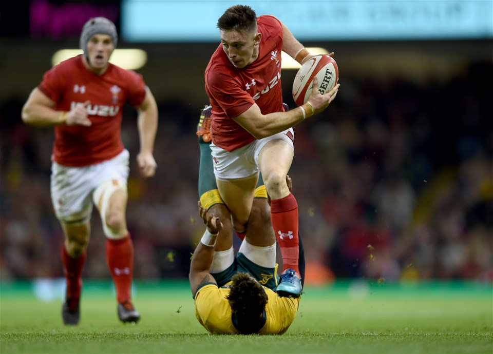 10.11.18 - Wales v Australia - Under Armour Series - Josh Adams of Wales is tackled by Will Genia of Australia.