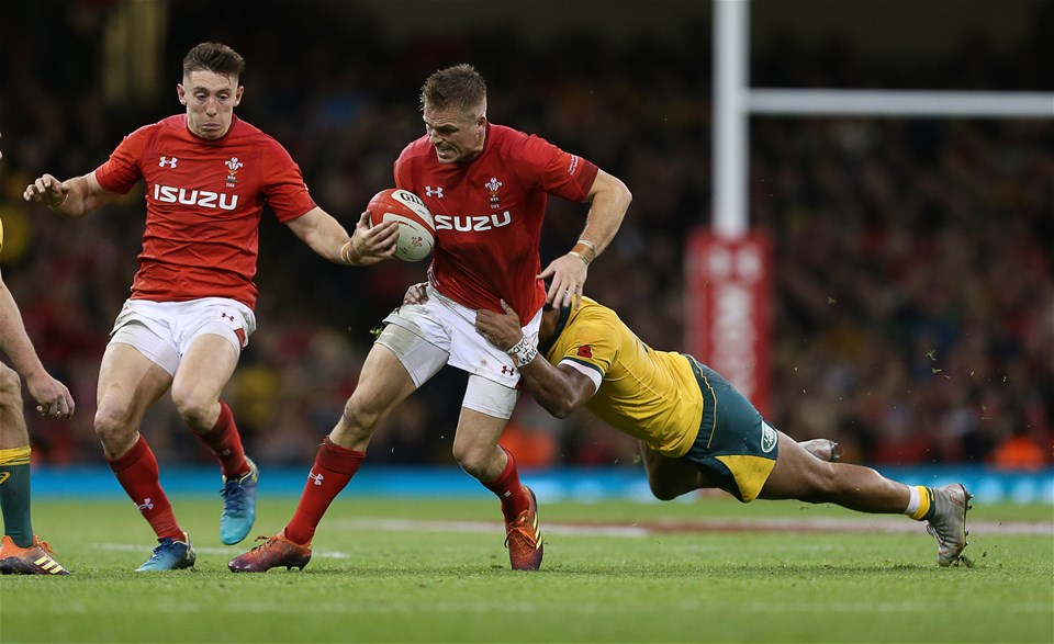 10.11.18 - Wales v Australia - Under Armour Series 2018 - Gareth Anscombe of Wales is tackled by Sefa Naivalu of Australia.