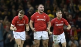 10.11.18 - Wales v Australia - Under Armour Series 2018 - Dan Biggar, Dillon Lewis and Gareth Anscombe of Wales celebrate the victory at full time.