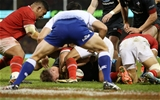 17.11.18 - Wales v Tonga - Under Armour Series - Tyler Morgan of Wales finds a gap to score a try.