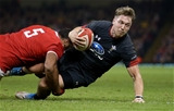 17.11.18 - Wales v Tonga - Under Armour Series - Tyler Morgan of Wales is tackled by Sitiveni Mafi of Tonga.