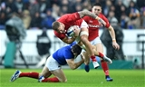 01.02.19 - France v Wales - Guinness 6 Nations 2019 -Ross Moriarty of Wales is tackled by Camille Lopez of France.