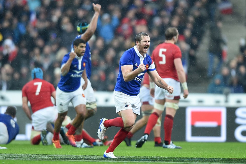 01.02.19 - France v Wales - Guinness 6 Nations 2019 -Camille Lopez of France celebrates a drop goal.