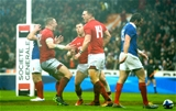 01.02.19 - France v Wales - Guinness 6 Nations 2019 -George North of Wales celebrates try with Hadleigh Parkes and Gareth Davies.