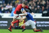 01.02.19 - France v Wales - Guinness 6 Nations 2019 -Gareth Anscombe of Wales is tackled by Morgan Parra of France.