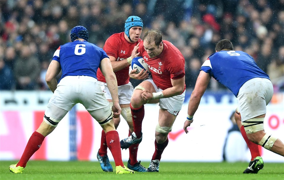 01.02.19 - France v Wales - Guinness 6 Nations 2019 -Alun Wyn Jones of Wales takes on Paul Willemse of France.