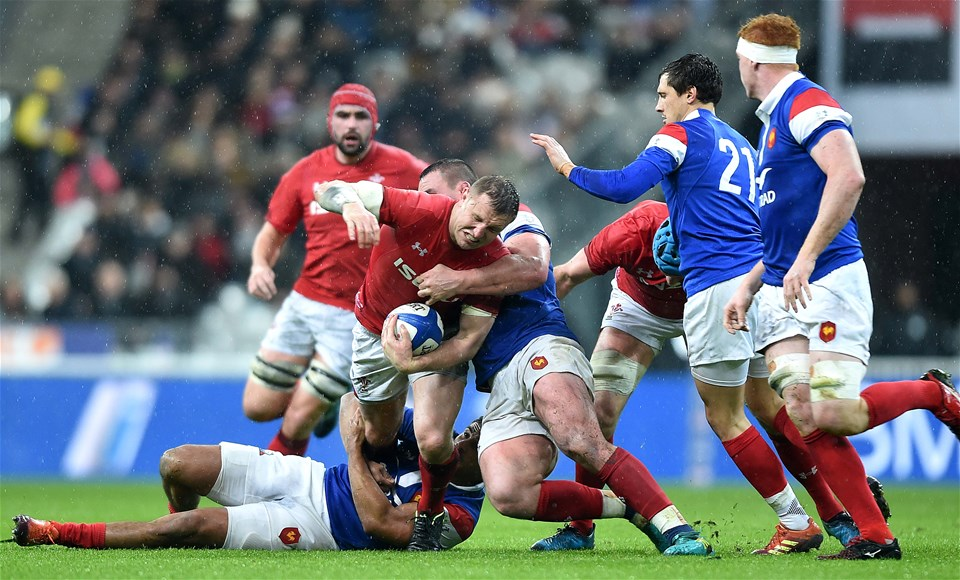 01.02.19 - France v Wales - Guinness 6 Nations 2019 -Hadleigh Parkes of Wales is tackled by Louis Picamoles of France.