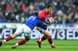 01.02.19 - France v Wales - Guinness 6 Nations 2019 -Gareth Davies of Wales is tackled by Baptiste Serin of France.