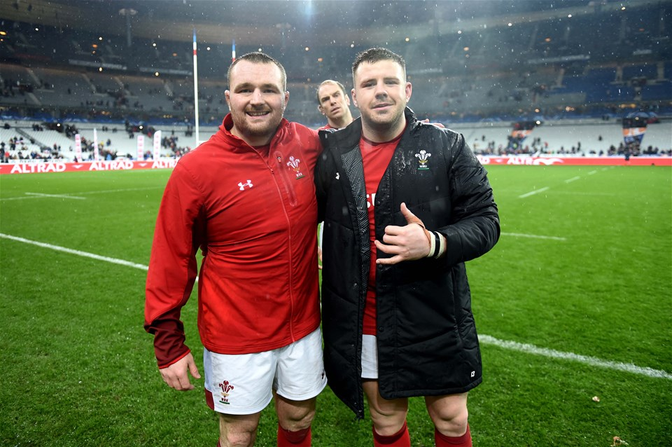 01.02.19 - France v Wales - Guinness 6 Nations 2019 -Ken owens and Rob Evans of Wales at the end of the game.