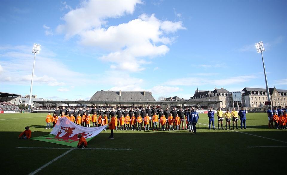 03.02.19 - France U20s v Wales U20s - U20s 6 Nations Championship - Wales sing the anthem.