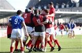 03.02.19 - France U20s v Wales U20s - U20s 6 Nations Championship - Joe Roberts of Wales celebrates scoring a try with team mates.