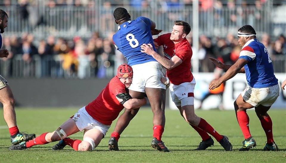 03.02.19 - France U20s v Wales U20s - U20s 6 Nations Championship - Ellis Thomas and Cai Evans of Wales tackle Jordan Joseph of France.