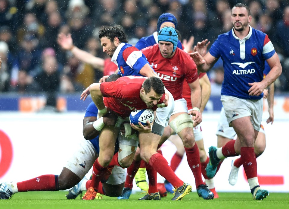 01.02.19 - France v Wales - Guinness 6 Nations 2019 -Dan Biggar of Wales is tackled by Demba Bamba of France.