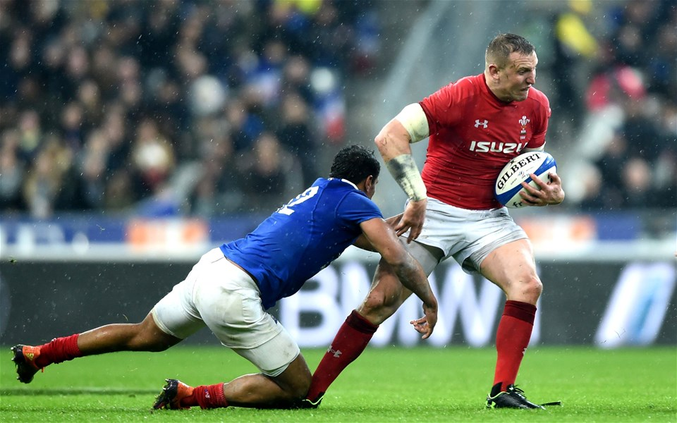 01.02.19 - France v Wales - Guinness 6 Nations 2019 -Hadleigh Parkes of Wales is tackled by Romain Ntamack of France.