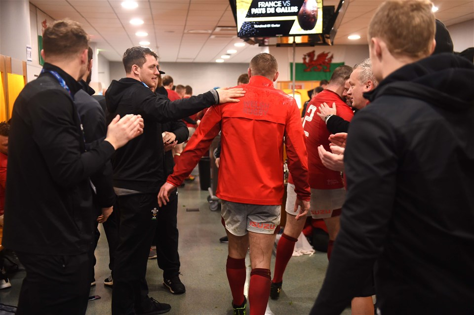 01.02.19 - France v Wales - Guinness 6 Nations 2019 -Hadleigh Parkes of Wales walks back into the dressing room.