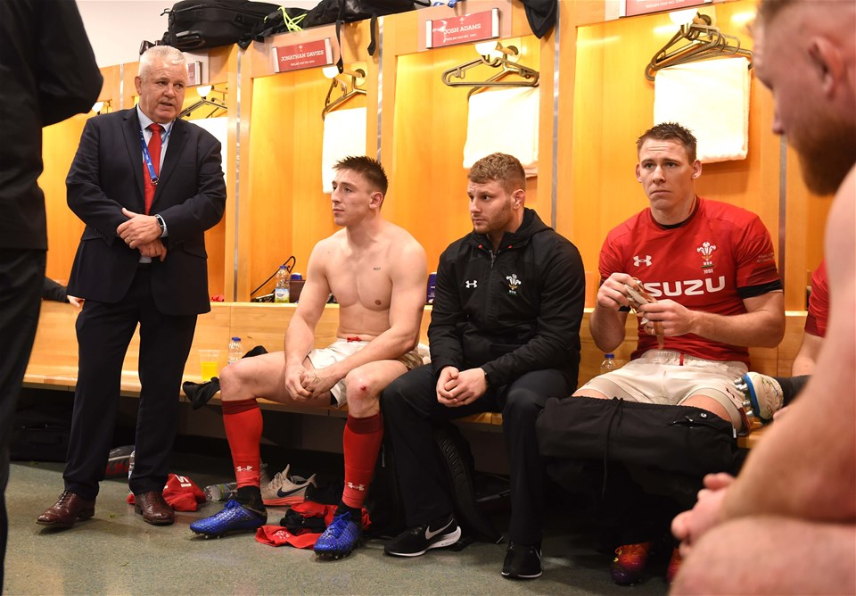 01.02.19 - France v Wales - Guinness 6 Nations 2019 -Wales head coach Warren Gatland, Josh Adams, Thomas Young and Liam Williams.