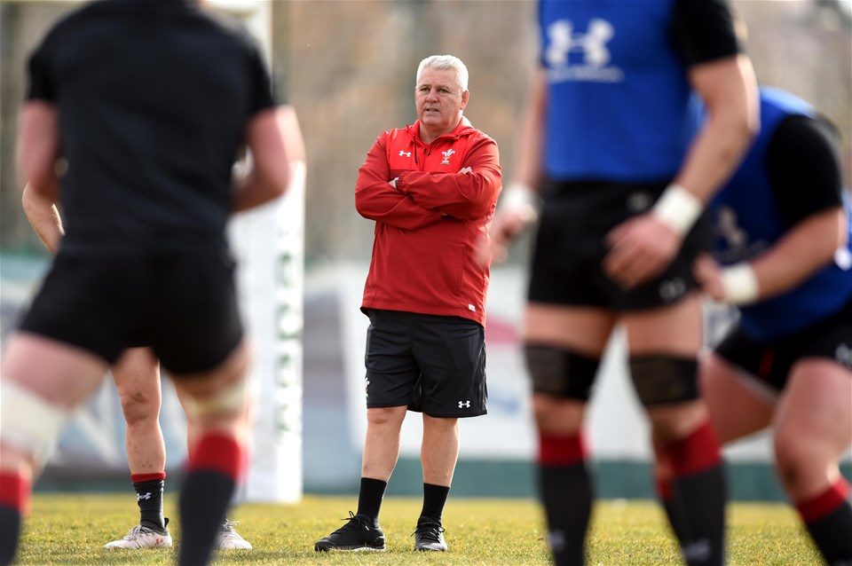 07.02.19 - Wales Rugby Training -Warren Gatland during training.