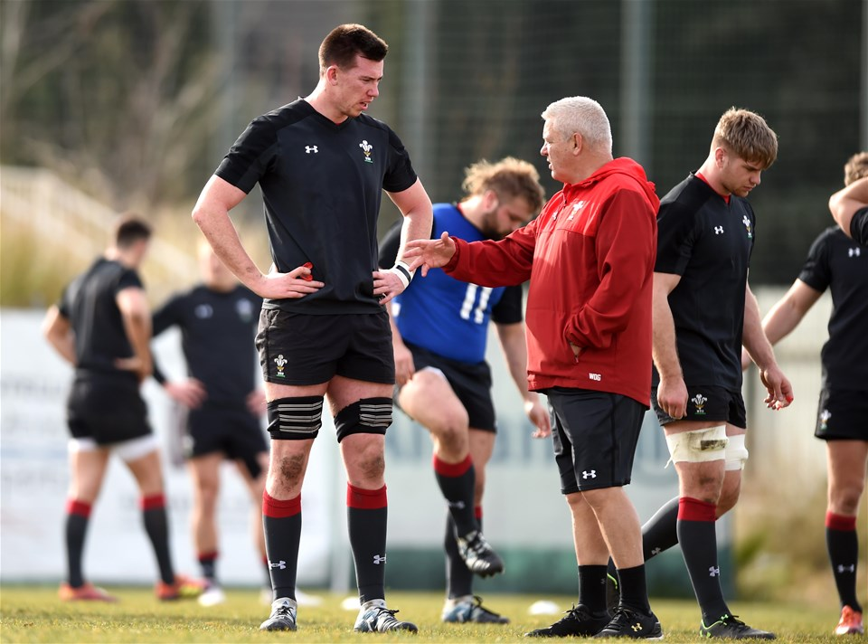 07.02.19 - Wales Rugby Training -Adam Beard and Warren Gatland during training.