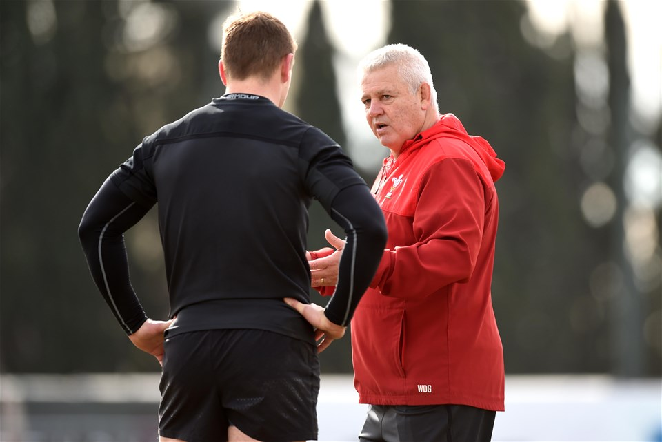 07.02.19 - Wales Rugby Training -Jonathan Davies and Warren Gatland during training.
