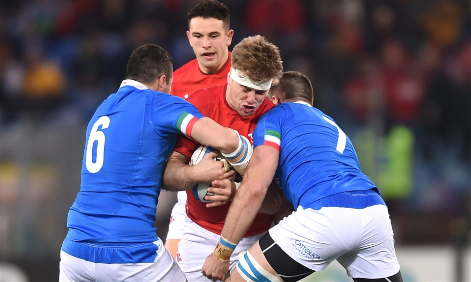 09.02.19 - Italy v Wales - Guinness Six Nations -Aaron Wainwright of Wales is tackled by Sebastian Negri and Abraham Steyn of Italy.