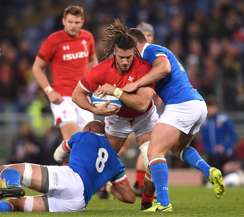 09.02.19 - Italy v Wales - Guinness Six Nations -Josh Navidi of Wales is tackled by Sergio Parisse and Luca Morisi of Italy.