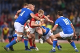 09.02.19 - Italy v Wales - Guinness Six Nations -Aled Davies of Wales is tackled by Sergio Parisse of Italy.