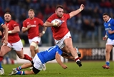 09.02.19 - Italy v Wales - Guinness Six Nations -Dillon Lewis of Wales is tackled by Edoardo Gori of Italy.