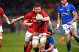 09.02.19 - Italy v Wales - Guinness Six Nations -Thomas Young of Wales is tackled by Luca Bigi of Italy.