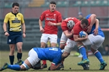 10.02.19 - Italy v Wales - Guinness U20 Six Nations - Rhys Davies and Ed Scragg in attack